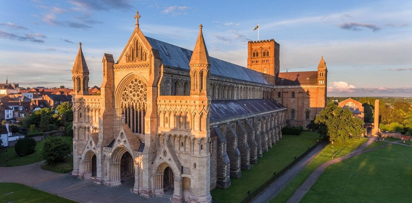 Aerial view of St Albans Cathedral