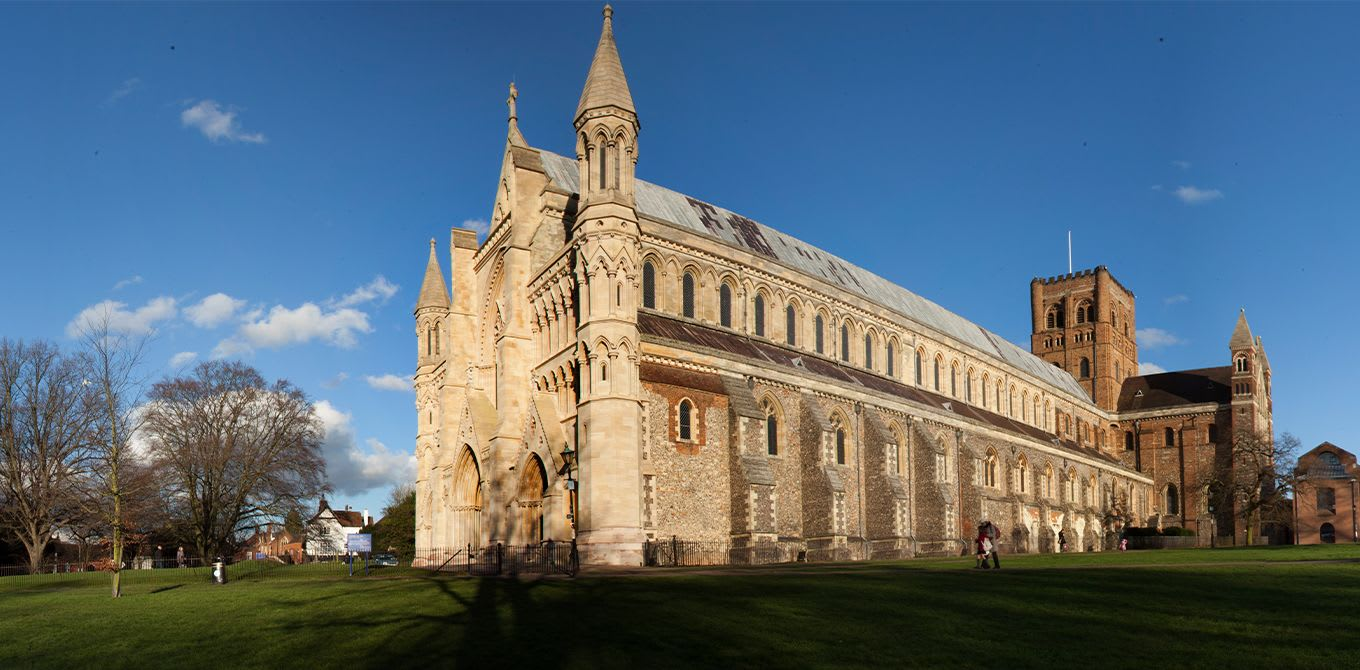 Image of the exterior of St Albans Cathedral
