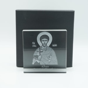 St Alban 3D Laser Etched Glass Block